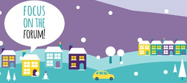 "A winter scene with snow falling and a large speech bubble. Text in the speech bubble reads ""focus on the forum!"""