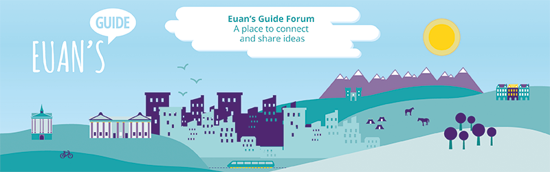 "City graphic with the Euan's Guide bubble logo on the left hand side. Text in a cloud reads ""Euan's Guide Forum - a place to connect and share ideas"