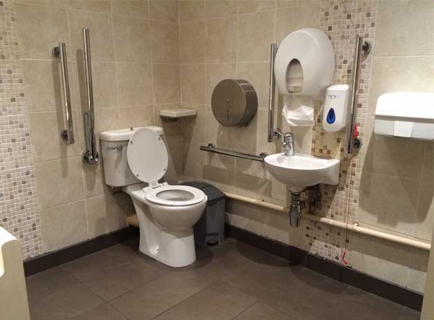 A photo of a tiled accessible toilet