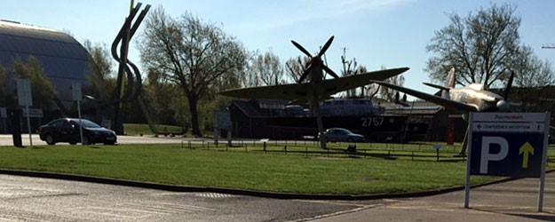A photo of a plane at the museum.