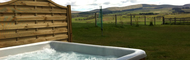 A photo of a hot tub in a field.