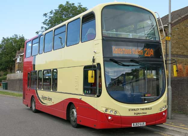 A photo of a double decker bus.