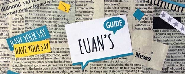 Photo of newspaper clippings and the Euan's Guide logo.