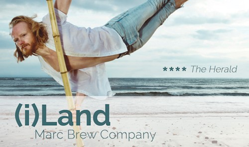 Flyer for (i)Land showing  a man dancing on a beach.