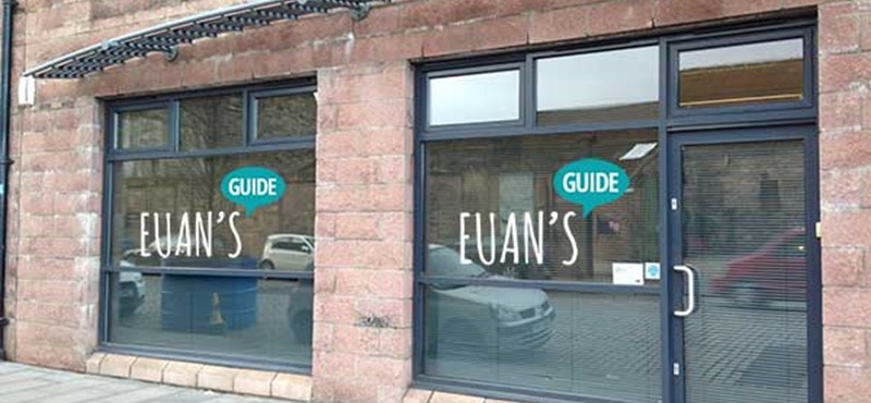 A photo the outside of Euan's Guide office.