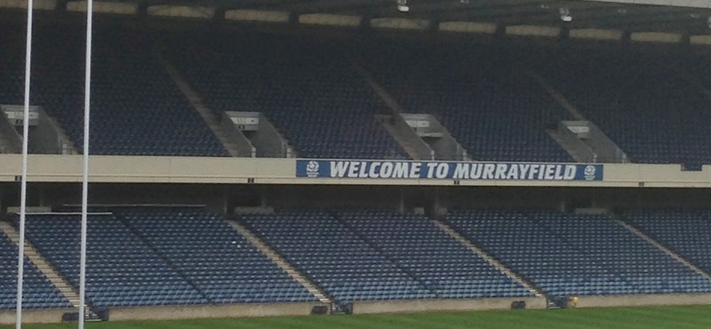 A photo of Murrayfield rugby stadium.