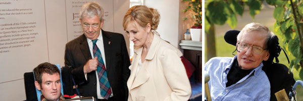Photo of JK Rowling with Euan, Photo of Professor Stephen Hawking