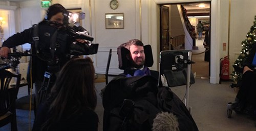 Photo of Euan Macdonald being filmed by STV