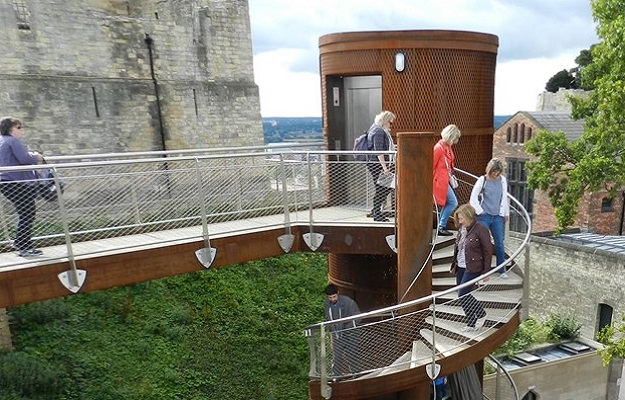 Photo of a lift and staircase at Lincoln Castle.