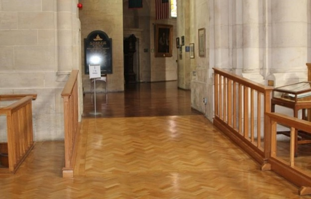 Photo of a ramp inside a place of worship.
