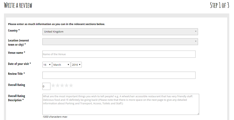 Screenshot of the review form.
