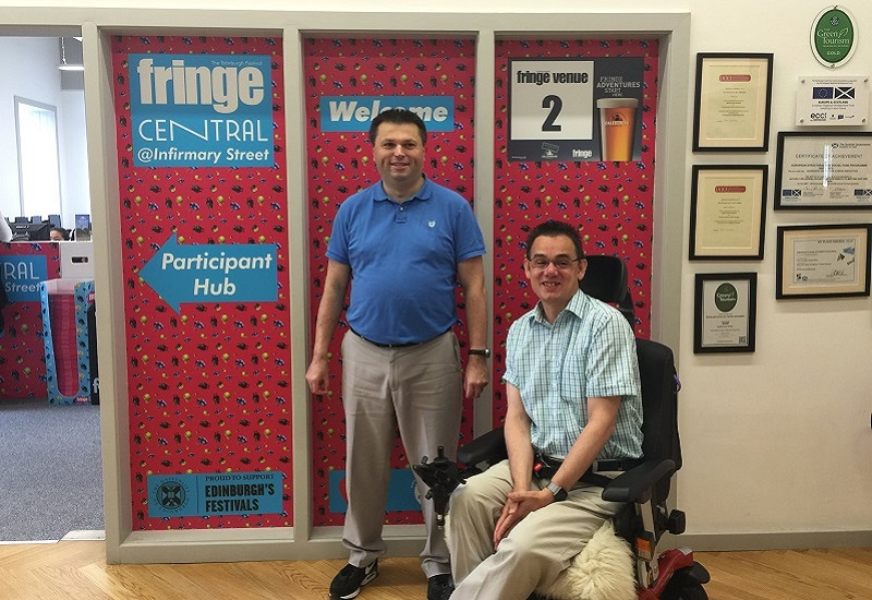 Photo of Paul and Ian outside Fringe central.
