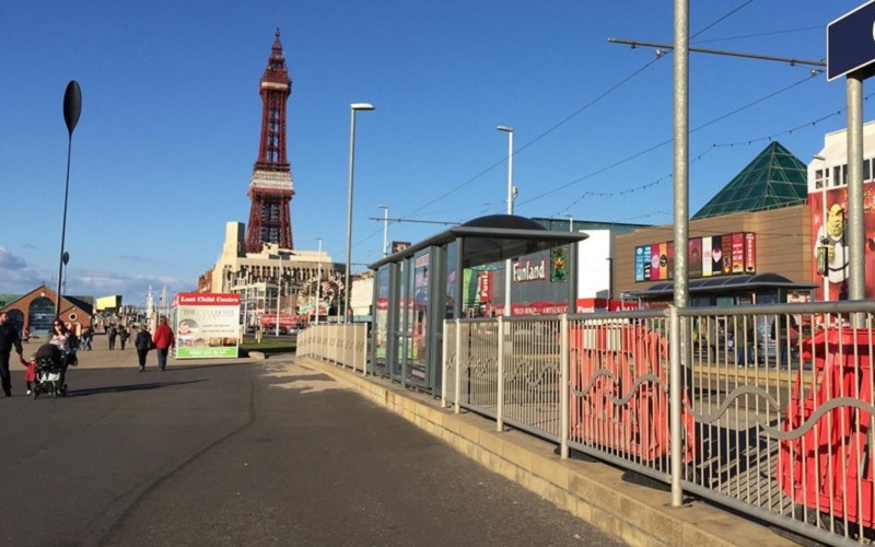 Photo of Blackpool trams.
