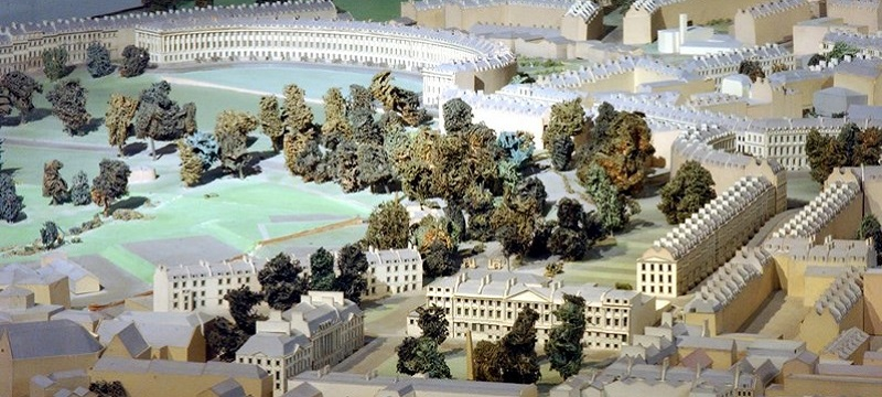 Photo of a model town at The Museum of Bath Architecture.