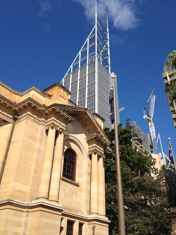 Picture of Macquarie Street  - State Library of NSW looking up to Sydney's CBD