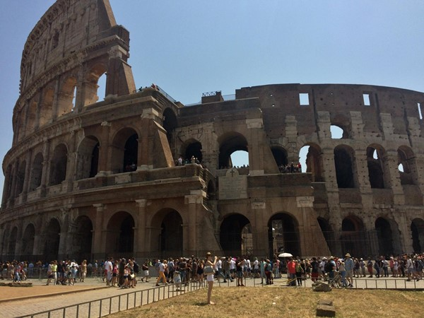 Photo of the Colosseum outside.