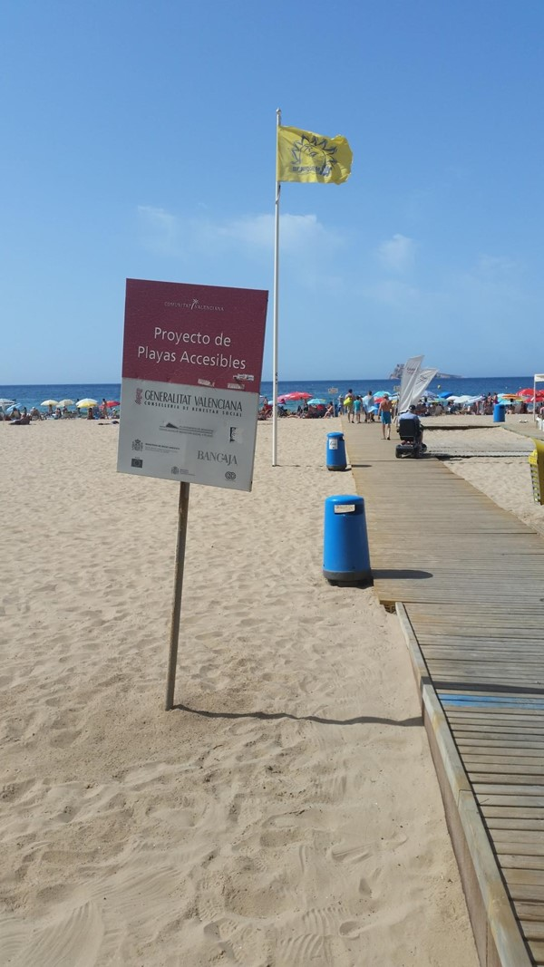 Sign for one of the accessible beach areas