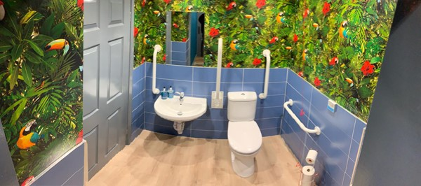 Lovely clean toilet with a jungle theme. Wait til you hear the music.