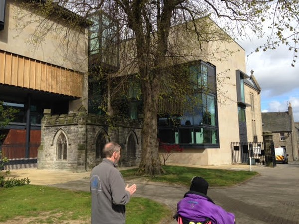 The new Carnegie Library and Art Gallery just outside the Abbey grounds. Watch out for a further rev