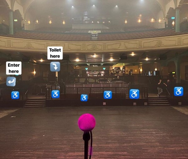 View from stage image, I've added signage for guidance